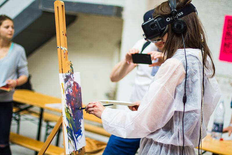 Art students doing VR painting
