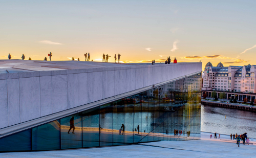 Oslo harbourfront in the sunset